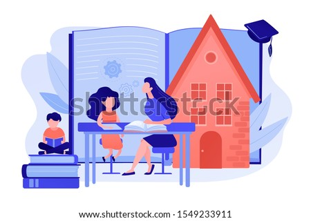 Children at home with tutor or parent getting education, tiny people. Home schooling, home education plan, homeschooling online tutor concept. Pinkish coral bluevector isolated illustration