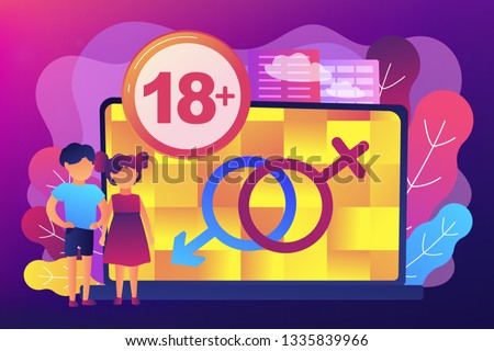 Children at laptop with adult content restriction for inappropriate video. Adult content, adult content notification, 18 age restriction concept. Bright vibrant violet vector isolated illustration