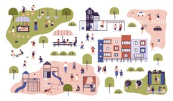 Children at modern kindergarten. Preschool classes having outdoor activities. Kids playing games, having fun at playground, walking, listening to teacher. Flat cartoon colorful vector illustration.