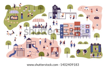 Children at modern kindergarten. Preschool classes having outdoor activities. Kids playing games, having fun at playground, walking, listening to teacher. Flat cartoon colorful vector illustration.