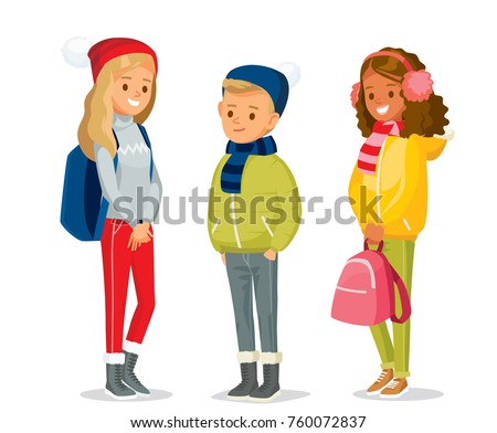 Children at the winter clothes