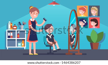 Children barber hairdresser woman doing boy kid client haircut in beauty hairdressing salon. Smiling child sitting on chair in front of mirror. Hair salon interior. Flat vector illustration