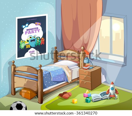 children bedroom interior in cartoon style with football ball and toys