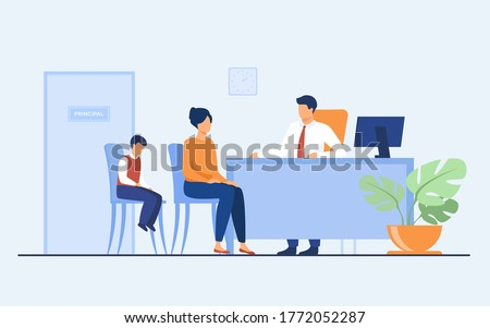 Children behavior problems concept. Mom and son visiting school principal office. Pupil feeling guilty while his mother talking to headmaster. Illustration for family troubles or education topics ストックフォト ©