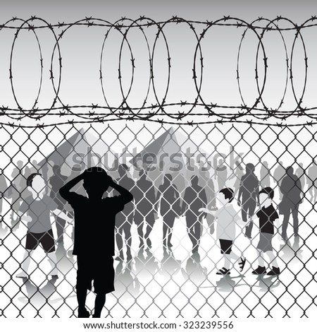 children behind chain link