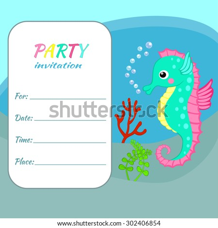 Children Birthday Party Invitation Card Template Colorful Seahorse On Sea Bottom Background Funny Animal Underwater World For Invite
