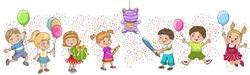 Children birthday party. Kids celebration. Play pinata.