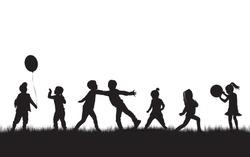 Children black silhouettes in nature. Vector.
