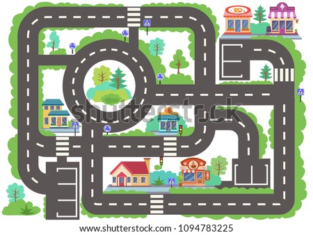 Children board game city road. Wallpaper or carpet for childrens room. Kids background with highway with buildings. Background for gaming childish car. Maze with road signs. Vector illustration.