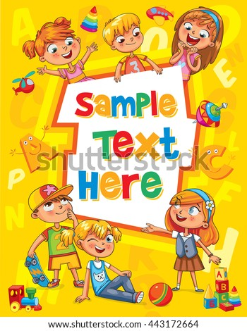 Children book cover. Template for advertising brochure. Ready for your message. Children look up with interest. Kid pointing at a blank template. Funny cartoon character. Vector illustration