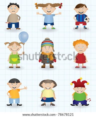 Children (boys and girls cartoon characters)
