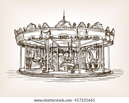 children carousel sketch style...