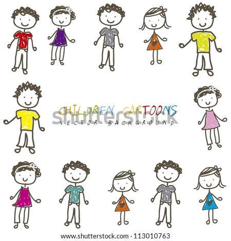 Children cartoons over white background vector illustration stock