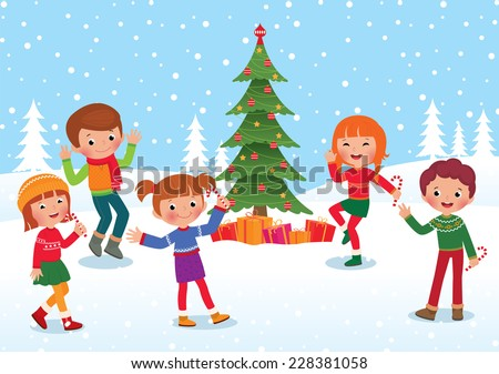 Children celebrate the winter holidays Christmas and New Year/Children celebrate Christmas and New Year/Children having fun at the celebration of Christmas and New Year