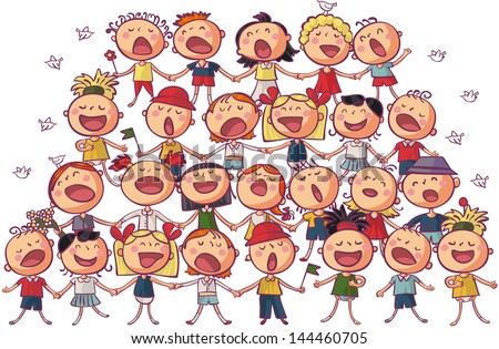children choir singing vector