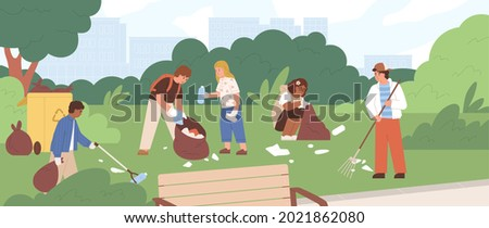 Children cleaning park from garbage. Group of kids picking and raking plastic litter and collecting it into trash bags. Team of eco volunteers during environment cleanup. Flat vector illustration Сток-фото ©