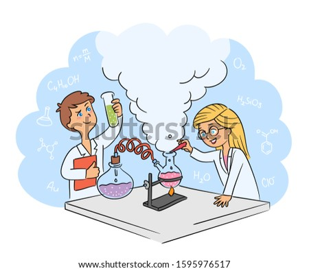 Children conduct chemical experiment in laboratory cartoon. Kids scientist. Young researchers in white coat. Chemic equipment with steaming liquid reagents. Educational science. Vector illustration