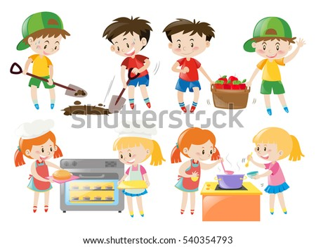 Children cooking and doing things in garden illustration