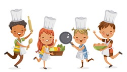 Children cooking.boys and girls preparing the cooking equipment together happily. holds kitchenware,vegetables and eggs. concept is learning and practicing moments of childhood.Vector illustrations.