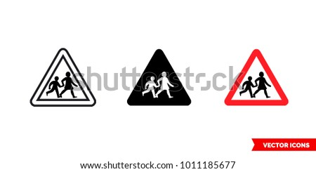 Children crossing sign icon of 3 types: color, black and white, outline. Isolated vector sign symbol.