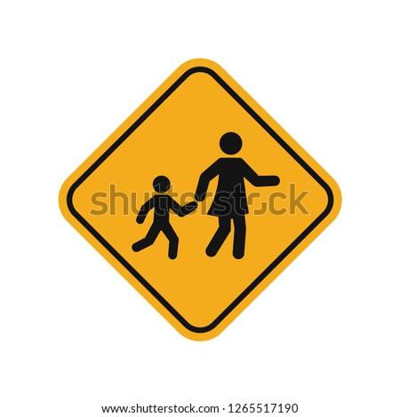 children crossing sign yellow