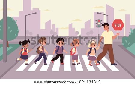 children crosswalk students