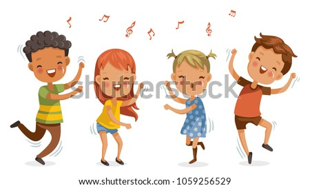 Children dancing. boys and girls dancing together happily.Jumping, shake the hips, move the body, cute cartoon Enjoy the rhythm. Have fun in childhood.Vector illustrations Isolated on white background