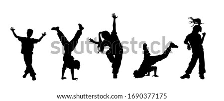 Children dancing street dance silhouette vector illustration. Hip hop, break dance, juzz funk, rap, freestyle Stockfoto ©