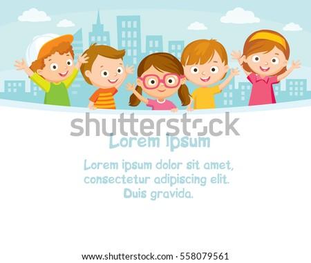 Children design with city landscape
