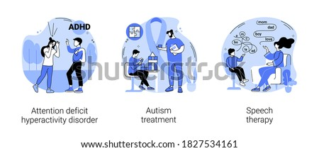 Children development issues abstract concept vector illustration set. Attention deficit hyperactivity disorder, autism treatment, speech therapy, hyperactivity, cognitive disability abstract metaphor. Foto stock ©