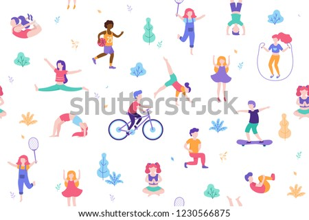 Children doing activities and sports in flat design vector illustration. People walk in the park seamless pattern isolated on white background. Kids doing yoga, stretching, gymnastics, exercises