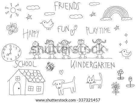 children doodle drawing of a