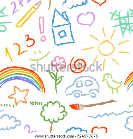 children doodle sketch seamless pattern vector