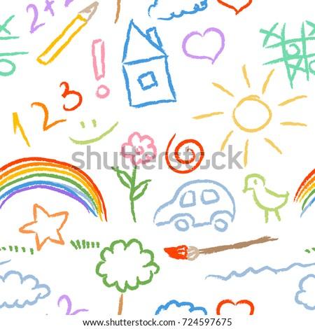 children doodle sketch seamless pattern vector