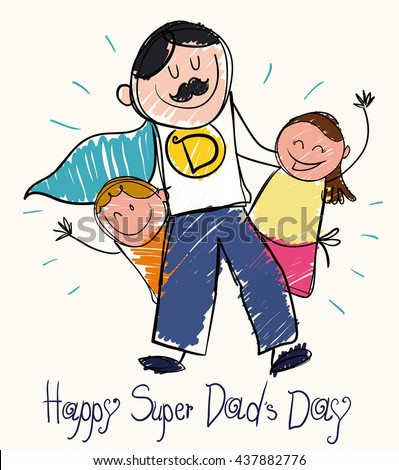 Children draw for Father\'s Day  with a super dad with moustache and cape with son and daughter in doodle style.