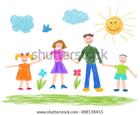 children drawing  happy family