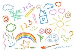 children drawing multicolored symbols set