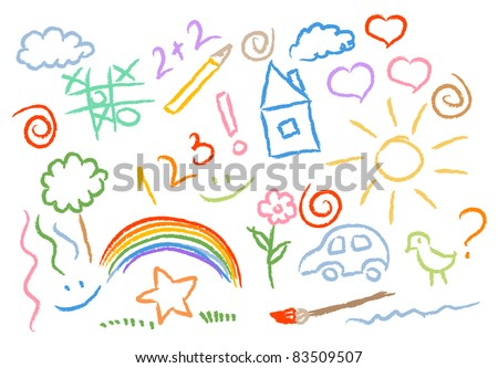 children drawing multicolored