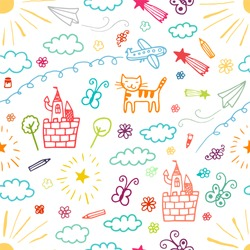 Children drawings color seamless pattern.