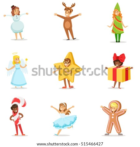 Stock Photo Children Dressed As Winter Holidays Symbols For The Costume Christmas Carnival Party
