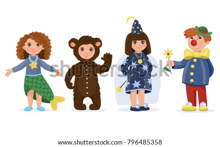 Children dressed in carnival costumes of a Wizard,  Clown, Fairy,  Mermaid and a Bear. Boy and girl. New Year costume, masquerade, party.  Vector illustration.