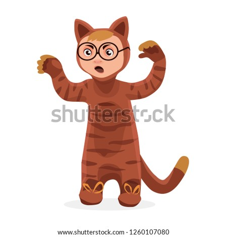 Children dressed in carnival costumes of cat. New Year costume, masquerade, party.  Vector illustration.