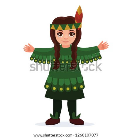 Children dressed in carnival costumes of indian. New Year costume, masquerade, party.  Vector illustration.