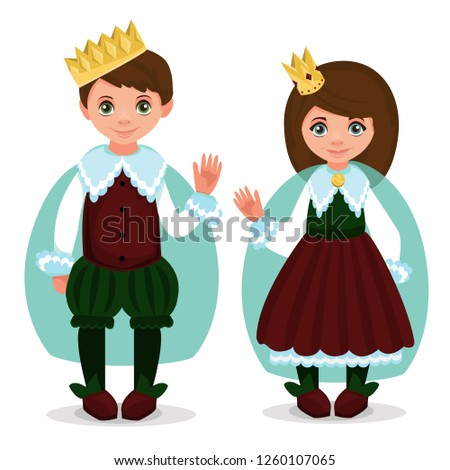 Children dressed in carnival costumes of prince and princess. New Year costume, masquerade, party.  Vector illustration.