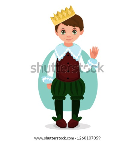 Children dressed in carnival costumes of prince. New Year costume, masquerade, party.  Vector illustration.