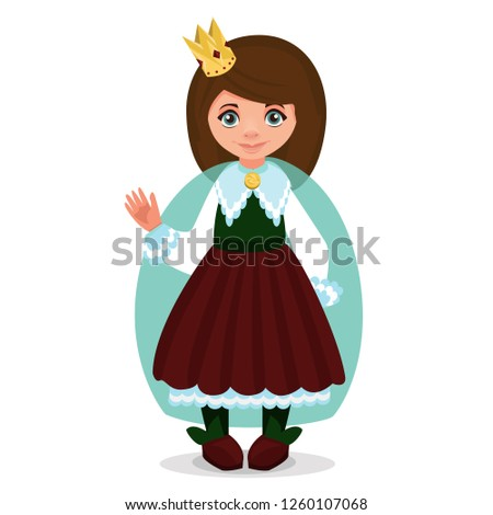 Children dressed in carnival costumes of princess. New Year costume, masquerade, party.  Vector illustration.