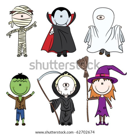 Children dressed in costumes ready to celebrate Halloween