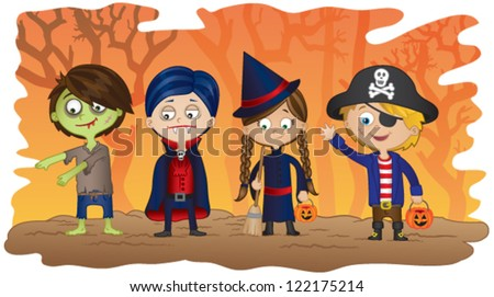 children dressed in halloween