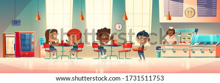 Children eat in school canteen. Vector cartoon illustration of cafeteria interior with tables, chairs, vending machine, water cooler, kids with food trays and staff at counter bar