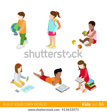Children education learning studying making classes homework flat web infographic concept vector icon set. Creative people collection.